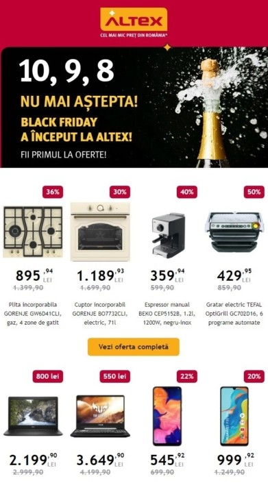 Catalog ALTEX Black Friday! 01 Noiembrie 2019 - 04 Decembrie 2019