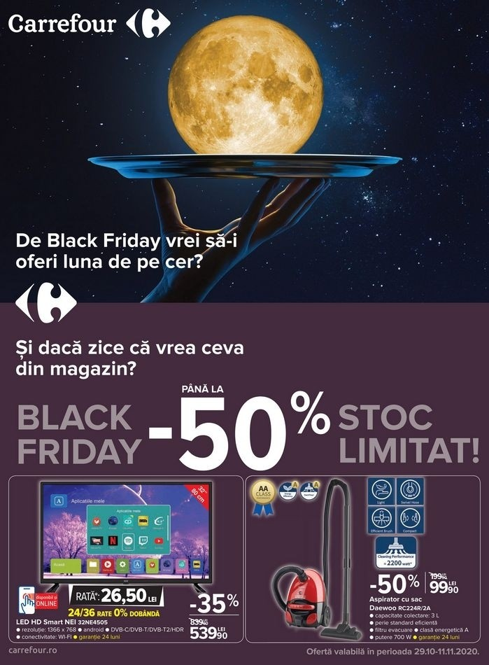 Catalog CARREFOUR Black Friday -50%! 29 Octombrie 2020 - 11 Noiembrie 2020
