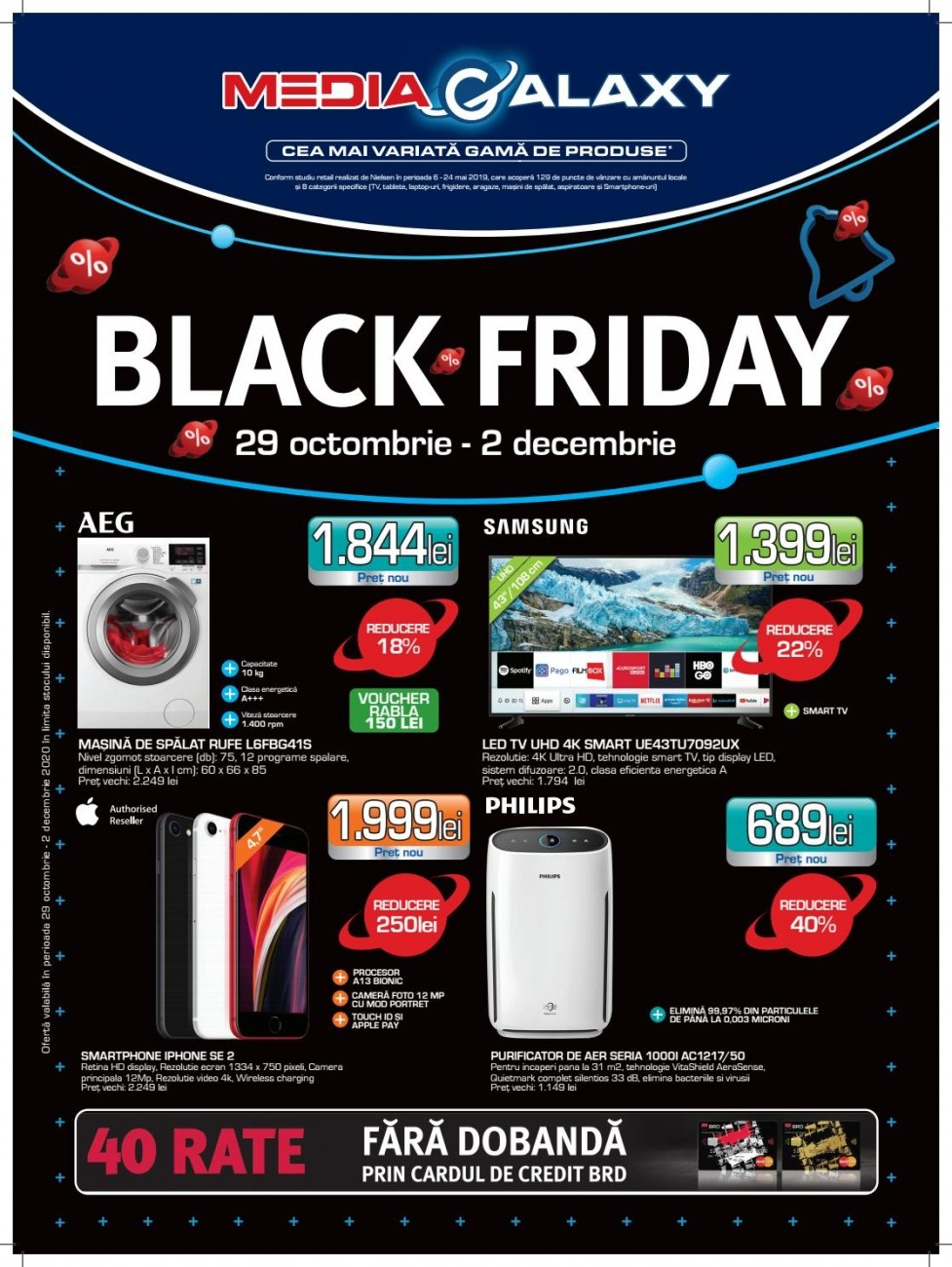 Catalog MEDIA GALAXY Black Friday 2020 ! 29 Octombrie 2020 - 02 Decembrie 2020