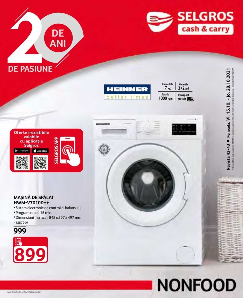 Catalog SELGROS 15 Octombrie - 28 Octombrie 2021- Non Food
